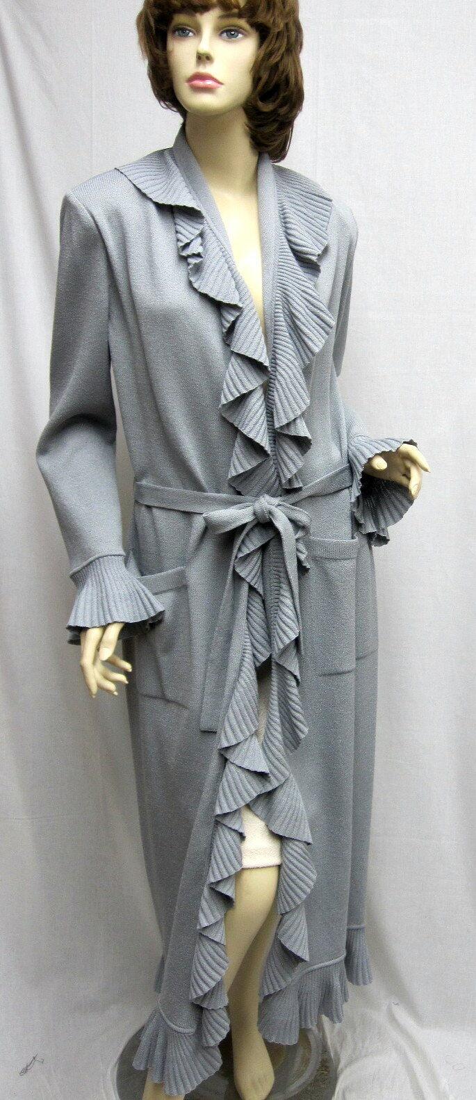 St John Knit Steel Grey Kelly COAT Ruffle SZ 10 12 NWT 1500