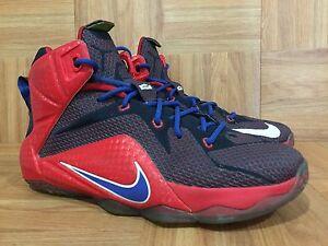 wholesale dealer 1da82 b9053 Image is loading RARE-Nike-LeBron-XII-12-University-Red-Navy-