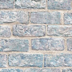 Image Is Loading Exclusive 039 Dulas Brick Effect Wallpaper Blue