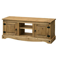 Flat Screen TV Television Unit Shelf Table 2 Two Door Storage Wood Wooden Corona