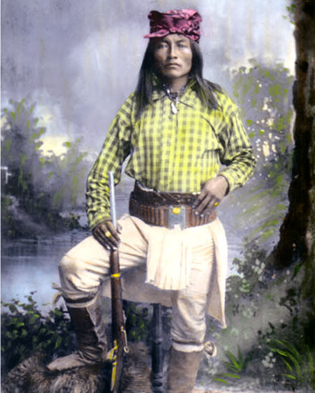 """YELLOW COYOTE CHIRICAHUA NATIVE AMERICAN INDIAN 8x10"""" HAND COLOR TINTED PHOTO"""