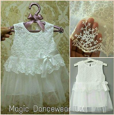 Baby Girls Christening dress Gown white Lace Tutu Wedding Bridesmaid Flower Girl