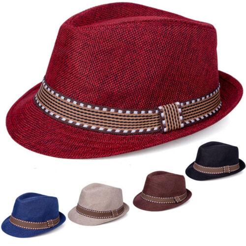 Kids Children Boys Girls Fedora Top Trilby Hat Gangster Cap Jazz Dance Sunhat TI