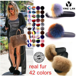 d25c29ff2 Womens Real Fox Fur Slides Fuzzy Furry Slippers Comfort Sliders ...