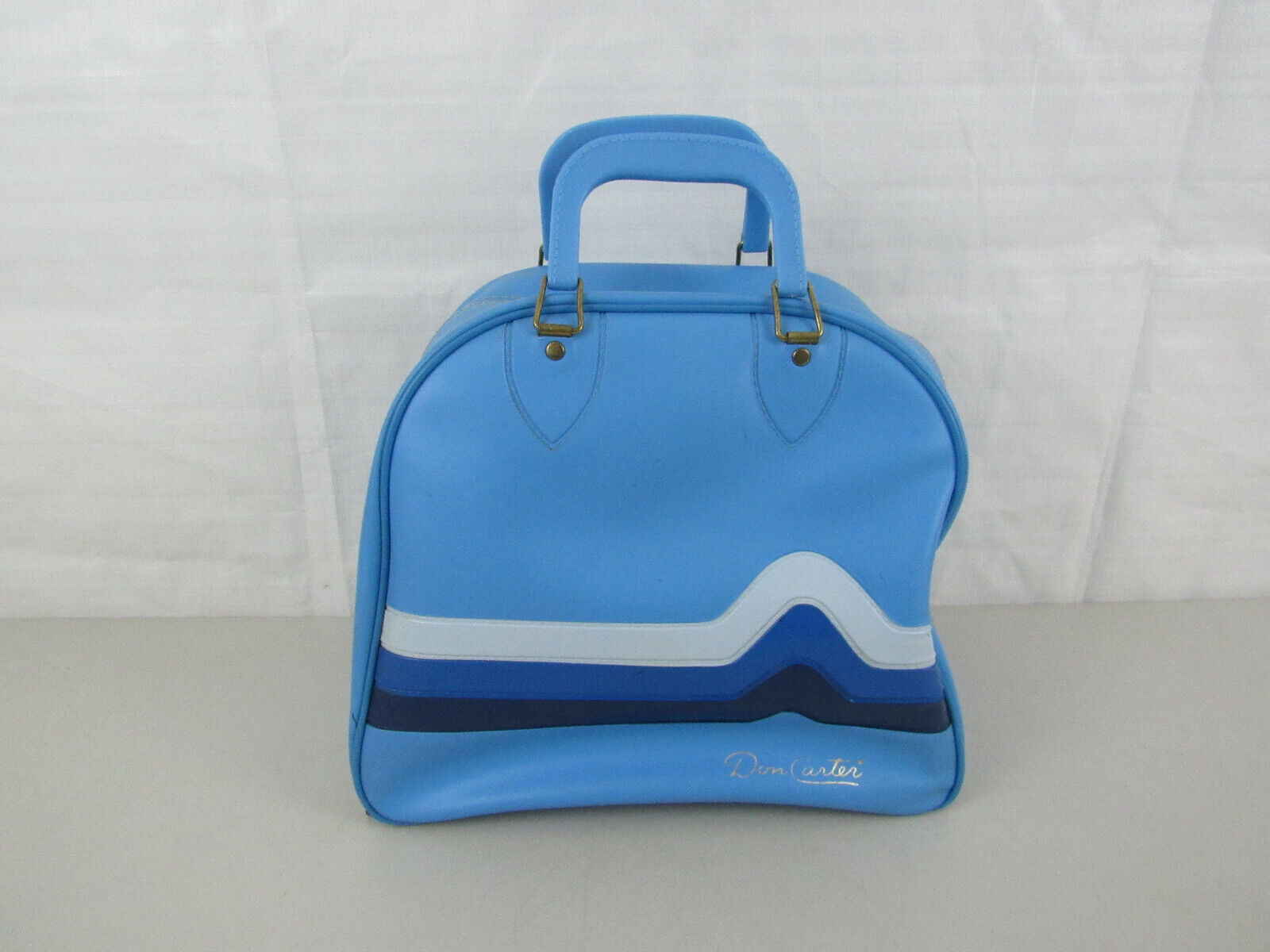 Vintage Don Carter Bowling Bag with Chevron Design & Wire Ball Support.