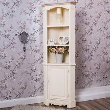 Cream Corner Cabinet Tall Display Unit Shabby Vintage Chic French Farmhouse