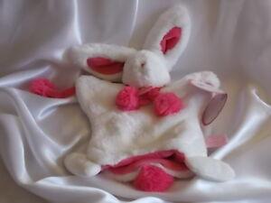 Doudou lapin pompon fraise rouge, marionnette, Doudou et compagnie (Cie)