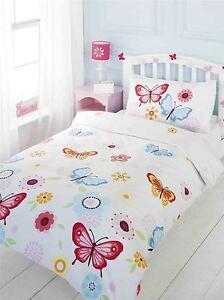 BUTTERFLIES-FLOWERS-FLORAL-RED-BLUE-WHITE-COTTON-BLEND-DOUBLE-DUVET-COVER