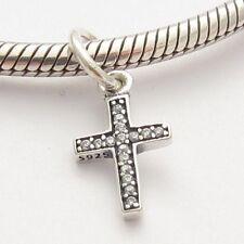 CROSS FAITH SYMBOL CHARM Clear CZ Sterling Silver.925 For European Bracelet 862