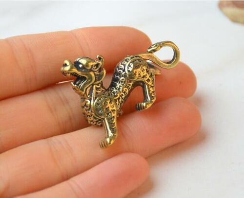 China/'s Archaize Pure Brass Kirin God Beast Small Statue