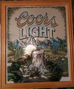 Coors Light Beer Mirror Waterfall Wood Framed Bar Sign Man Cave 1997  24.5 X 21