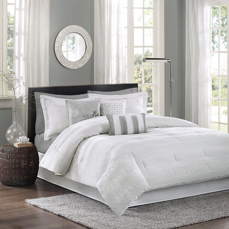 Luxury Cal King Comforter Set 7 Piece Jacquard White Bedding Shams Sheets