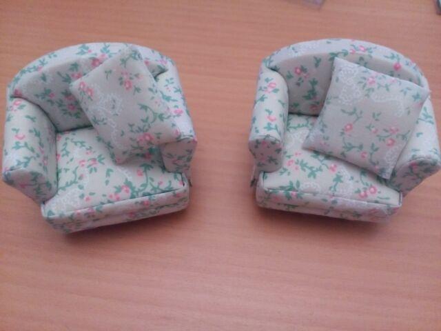 DHE 3999 Dolls House Emporium 12th Scale Pink Spray Armchair X 2 BNIB