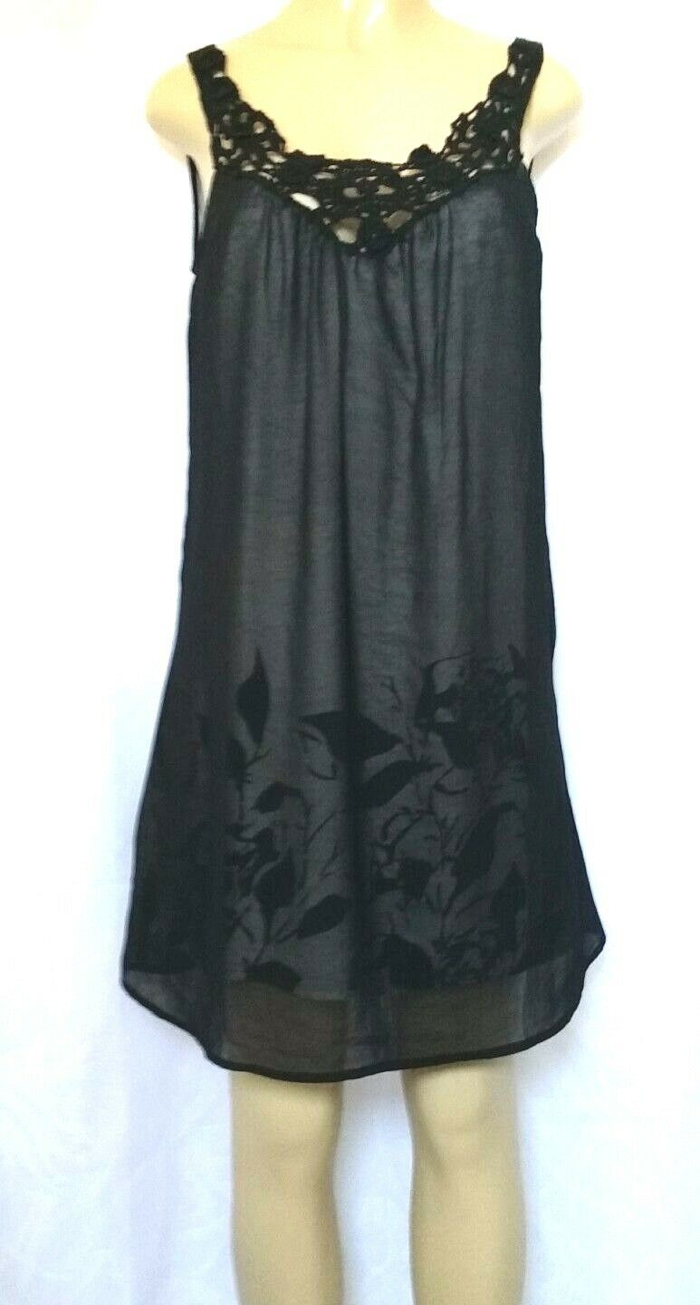 BEULAH Sheer Layerot Top Shirt Tunic schwarz Sleeveless M Mini Dress Lined Floral