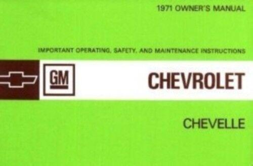 CHEVELLE /& EL CAMINO 1971 Owner/'s Manual 71