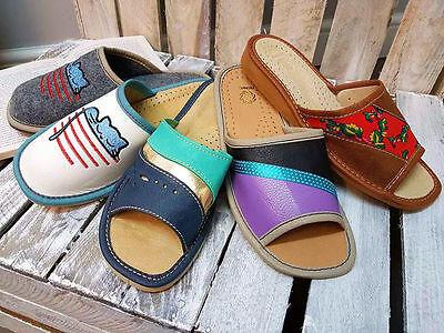 35-39 Women/'s ECO LEATHER/& FELT  Slippers House Shoe MANY SIZES Thick sole
