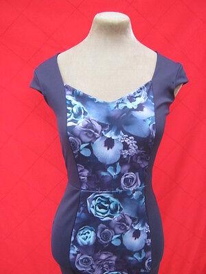 Navy Blue Purple Rose hourglass illusion wiggle dress small 8 10 pinup Dita Diva