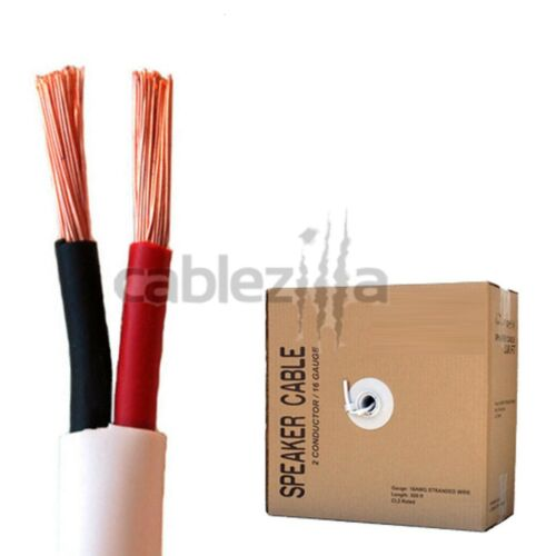 Speaker wire audio cable 2 conductors 18 AWG gauge CL2 in wall 100ft 18//2 bulk