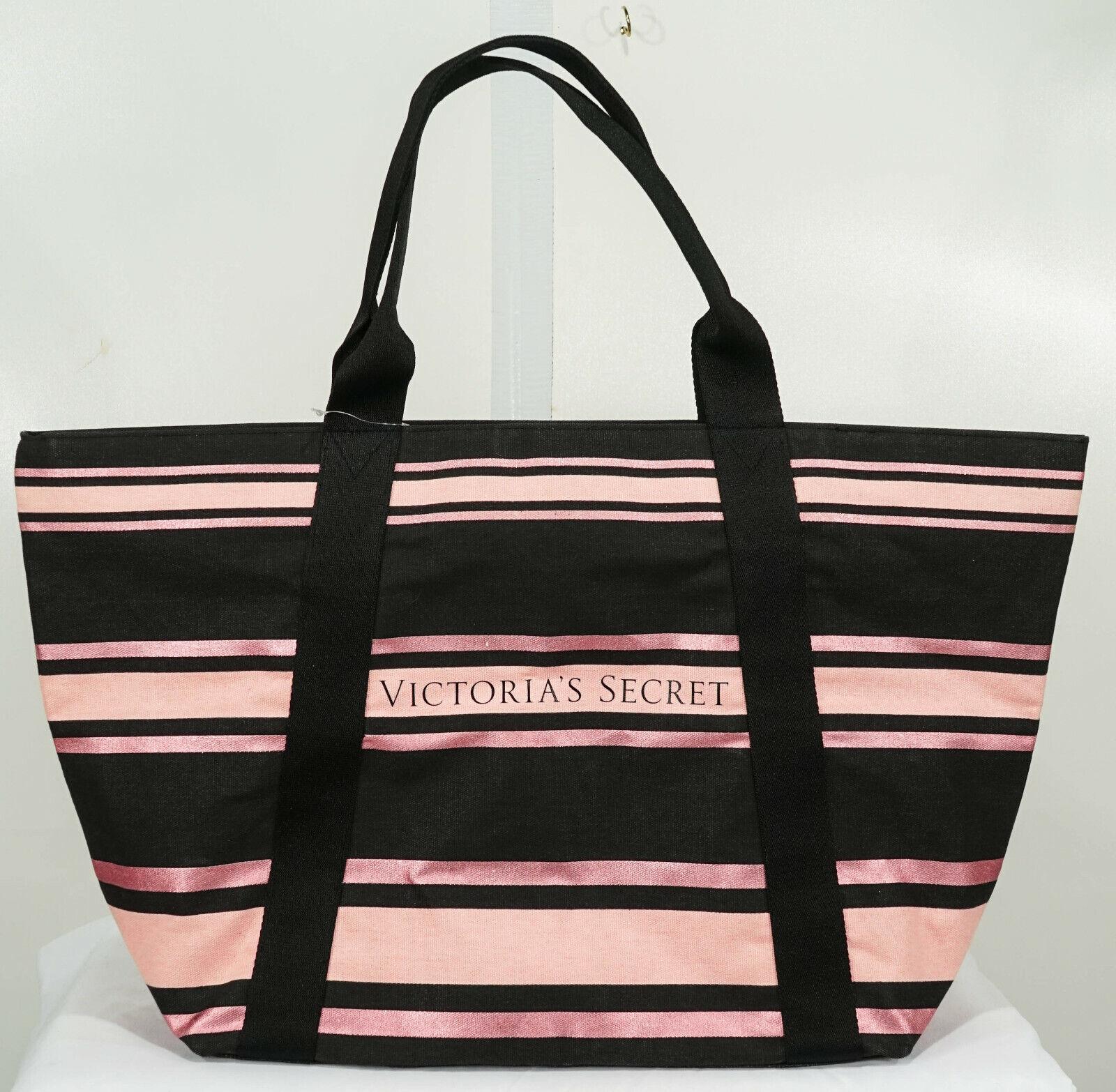 NWT Victoria's Secret Black + Pink Stripe Large Tote Bag