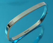 925 Sterling Silver Square Bangle Bracelet Plain 5mm Wide UK Hallmarked