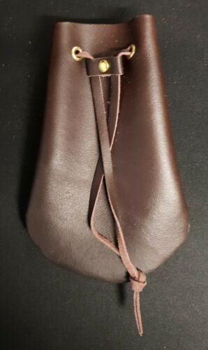 Handmade Leather Coin Pouch or Dice Bag