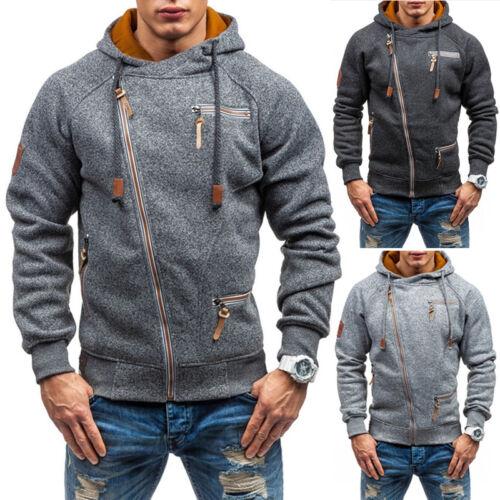 Mens Sweatshirt Pullover Zip Up Casual Hoodie Hooded Sweat Slim Fit Jacket Coat