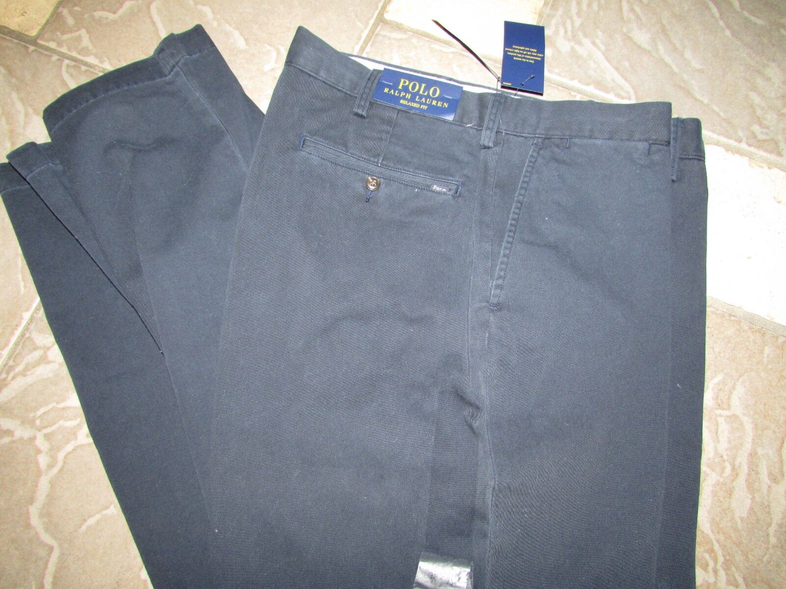 NEW POLO RALPH LAUREN NAVY RELAXED FIT PANTS MENS 38X32 FLAT FRONT COTTON