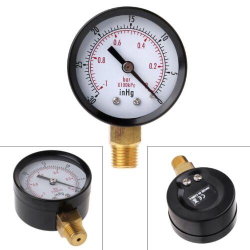 """Vacuum Pressure Gauge Mini Dial Air Pressure Meter Double Scale BAR inHg 1//4/""""NPT"""