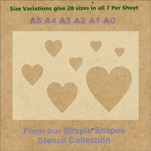 Simple-Shape-Hearts-Stencil-Strong-350-micron-Mylar-not-Hobby-stuff-SSS005