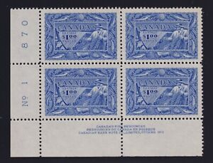 Canada Sc #302 (1951) $1 Fishing Resources LL Plate Block Mint VF NH