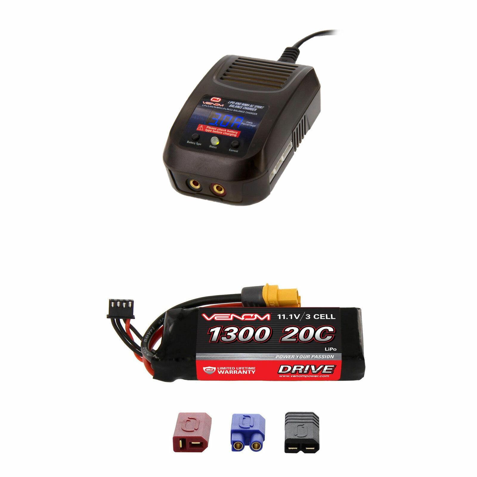 Venom 20C 3S 1300mAh 11.1V Batería Lipo Y Cargador Combo Sport