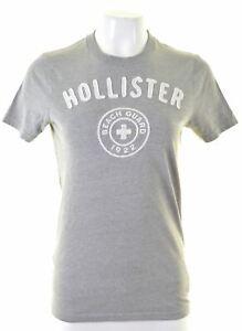 Hollister-Femme-T-Shirt-Graphique-Haut-Taille-10-S-en-coton-gris-AR12