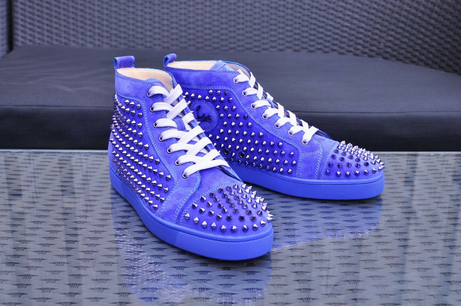 CHRISTIAN LOUBOUTIN 995  Rare New Pervenche Blue Louis Veau High Top   da Ginnastica