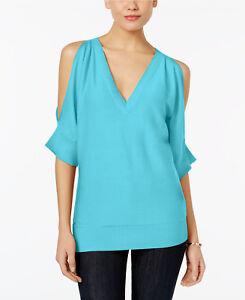 NWT-MICHAEL-Michael-Kors-Womens-V-Neck-Cold-Shoulder-Sweater-L-Reg-88