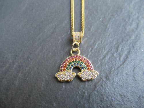 Para mujeres niñas pequeñas CZ allanó Oro Arco Iris Colgante Collar Cadena Joyería Reino Unido