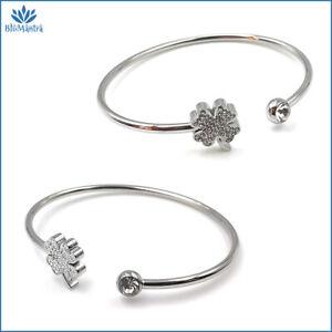 Bracciale da donna rigido con quadrifoglio portafortuna in acciaio braccialetto
