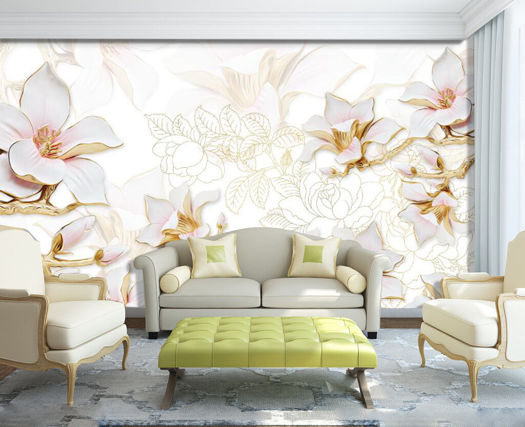 3D White Pear Flowers 2873 Wall Paper Wall Print Decal Wall Deco Art Indoor Wall