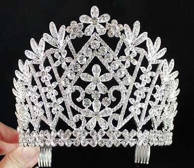 A89133 AUSTRIAN RHINESTONE CRYSTAL CROWN TIARA WITH HAIR COMBS PAGEANT BRIDAL