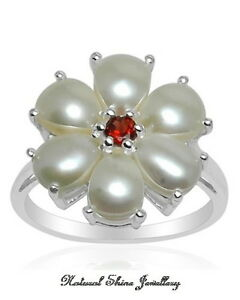 Ring-7-CT-Natural-Pearl-925-Sterling-Silver-Rhodium-Finish-Size-9