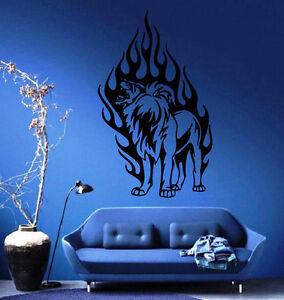 Lion-039-s-Roar-In-Flames-King-of-the-Jungle-Wall-MURAL-Vinyl-Art-Sticker-Decal-M301