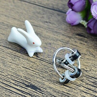 Key Ring Hand Spinner Decompression Toy Cycle Chain Buckle Finger Gyro White CG