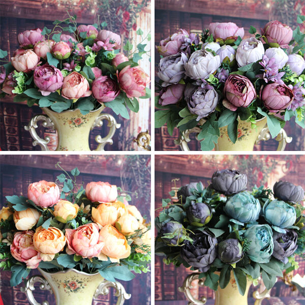Artificial Peony Silk Floral 12 Heads Flowers Bridal Hydrangea Party Decor