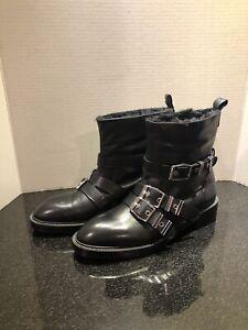 NWT Zara Black Faux Fur Lined Leather