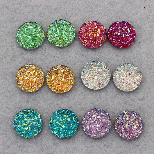 40PCS 12mm Flat Back Round Resin Rhinestones Crystal Beads DIY Decoration ZZ24