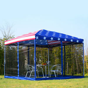 10x10-EZ-Pop-Up-Party-Wedding-Tent-Patio-Gazebo-Canopy-Outdoor-Mesh-US-Flag-Bag