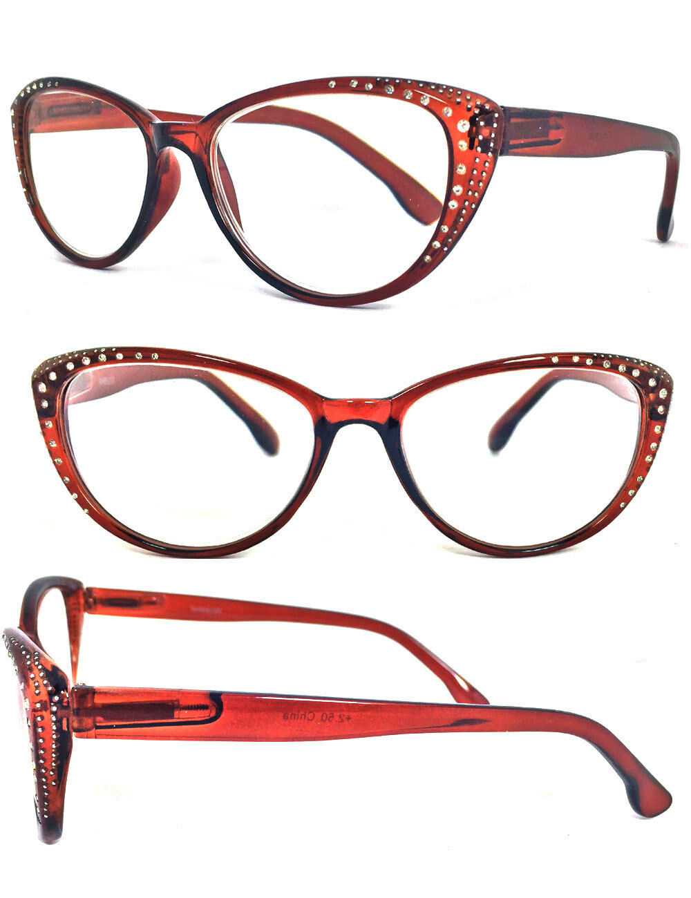 Cat Eye Frame Reading Glasses : Rhinestone Cat Eye Sexy Vintage Style Clear Lens Reading ...