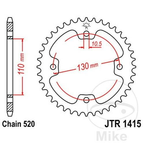 JT Rear Sprocket 36T 520P JTR1415.36 Steel Dinli Sports 450 Special 2011-2016