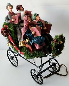 Vintage-Traditions-Fabric-Mache-Caroling-Family-In-Carriage-Centerpiece-Display