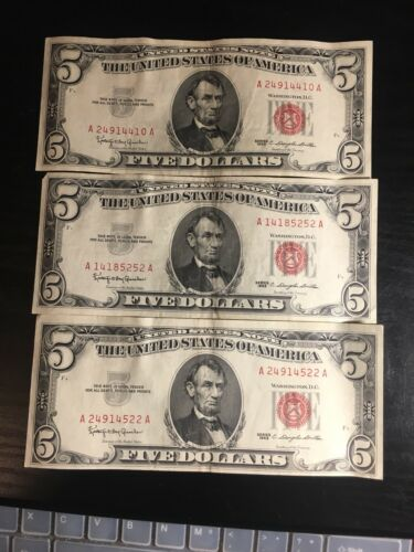 1 One Random RARE 1953-1963 Red Seal $5 Legal Tender Note FIVE Dollar Bill Lot