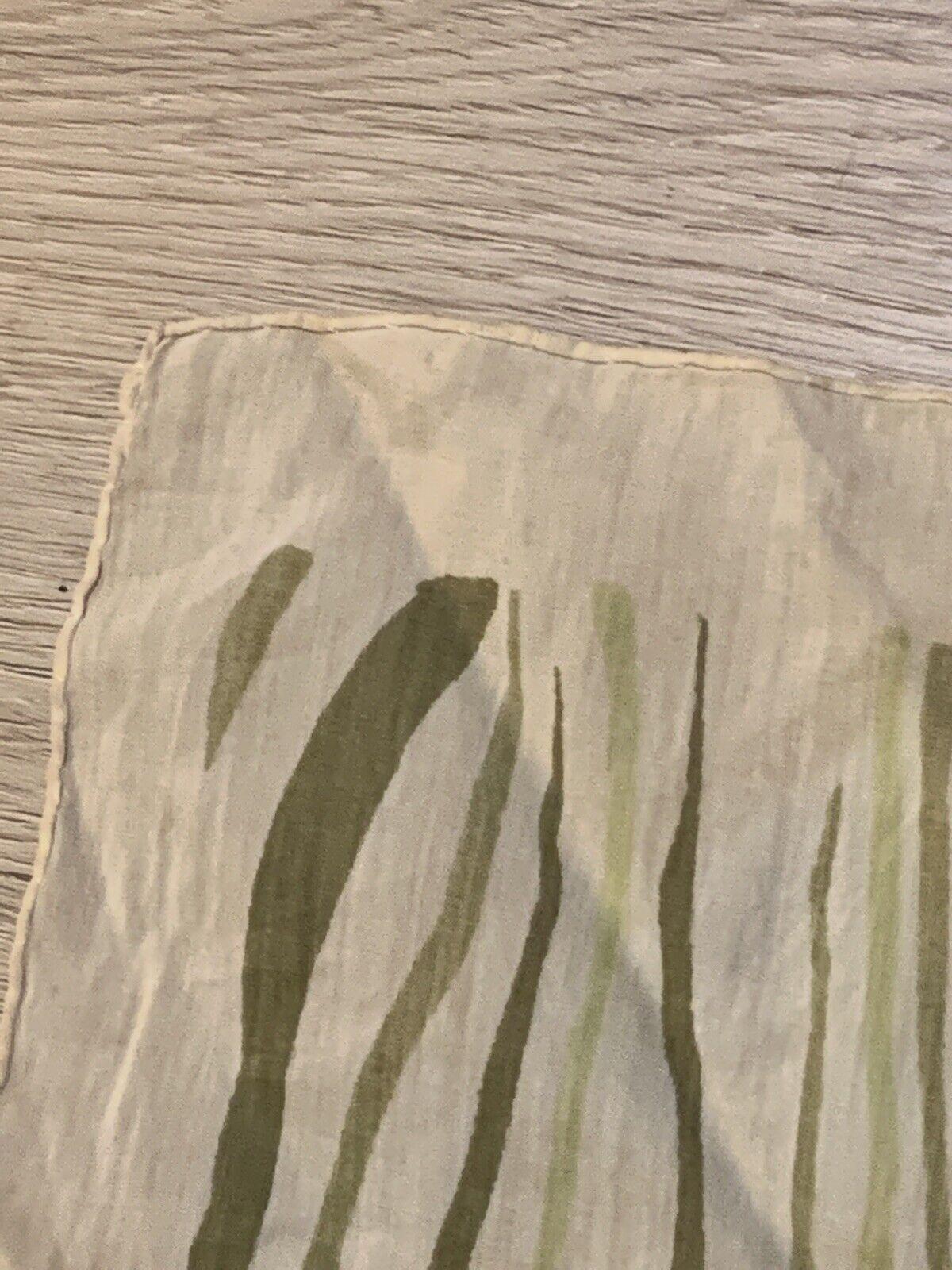 1940's Silk Scarf Greens Wood Grain Print VINTAGE - image 5